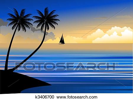 Sunset at the beach Clipart.