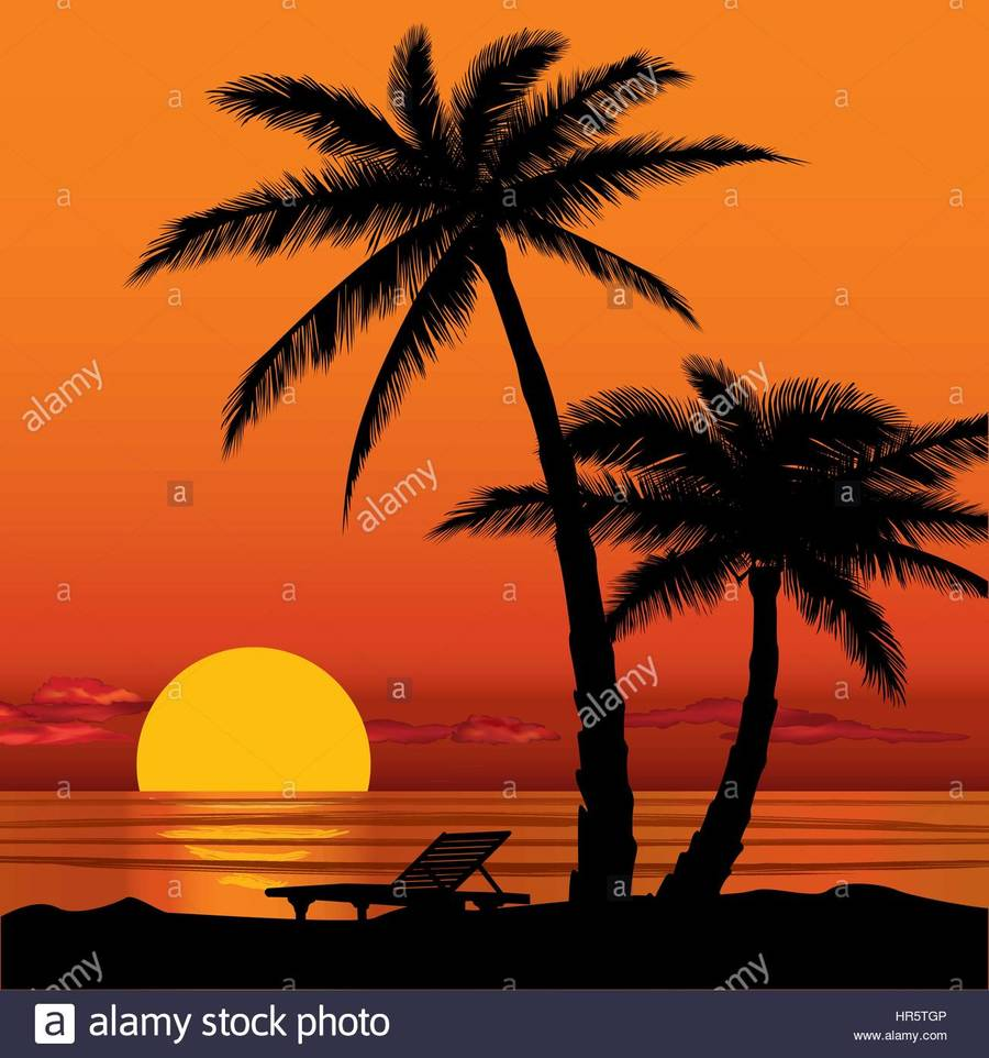 Download beach with palm tree sunset clipart Sunset Clip art.