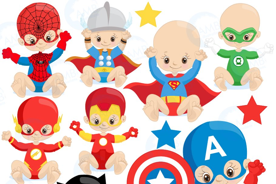Super Hero Babies Clipart, 1337.