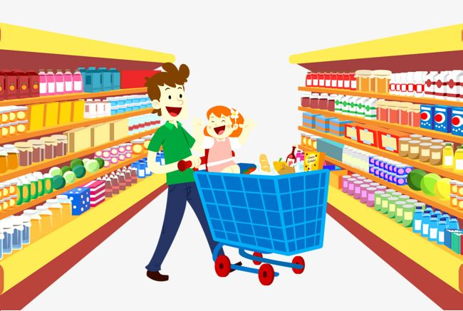 Supermarket Shopping, Supermarket, Shopping, Shopping Cart PNG.