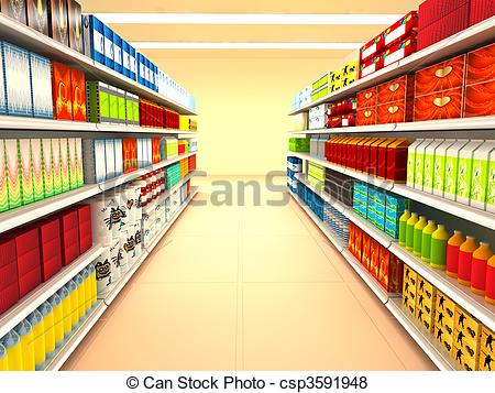 Supermarket. 3d rendered image..