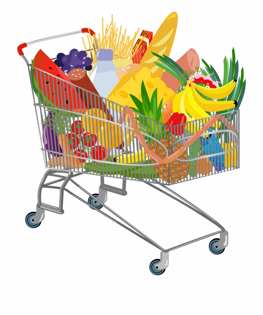 Groceries Vector Full Shopping Bag.