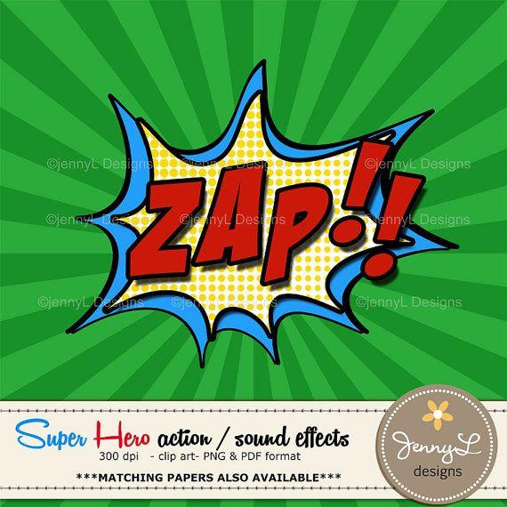 Superhero Comic Sound Effects clipart, Super Hero words.