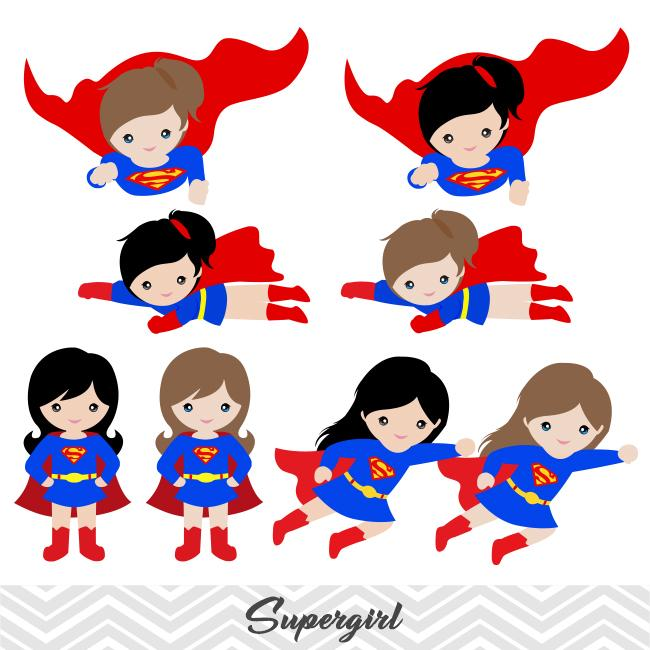 Super Woman Digital Clip Art, Superman Clipart, Supergirl Clipart, 0187.
