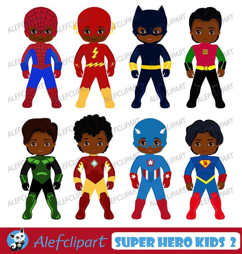 African American Superhero Clipart, Superhero Clipart,Superhero Kids  Costumes Clip Art..