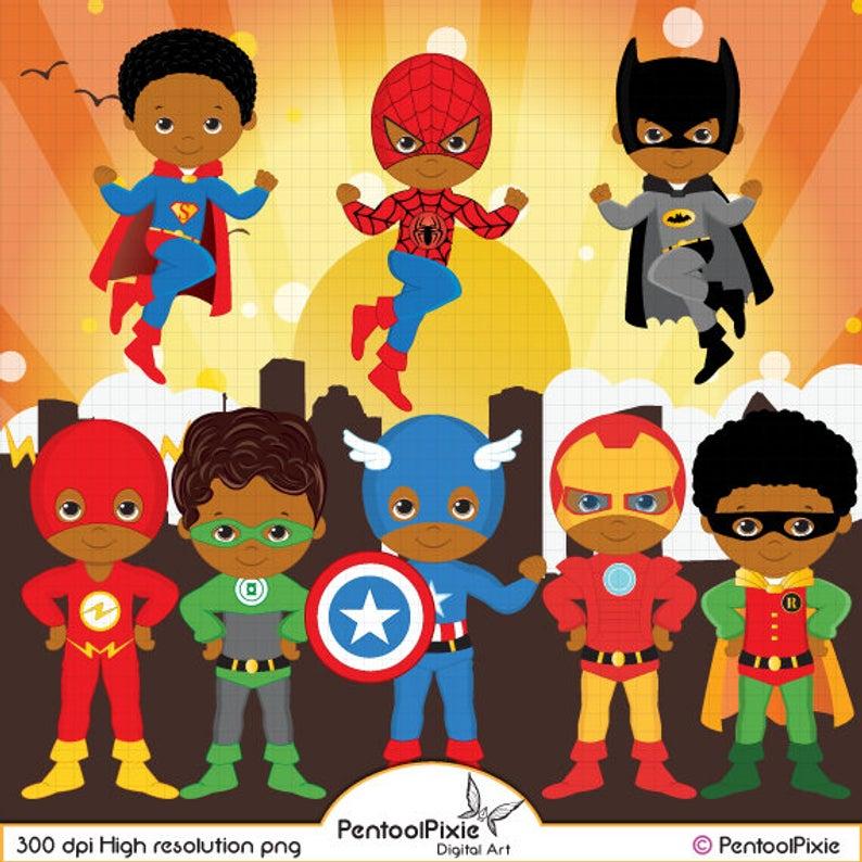African American Superhero clipart, Super Hero clipart, Superhero boys,  Hero clipart.