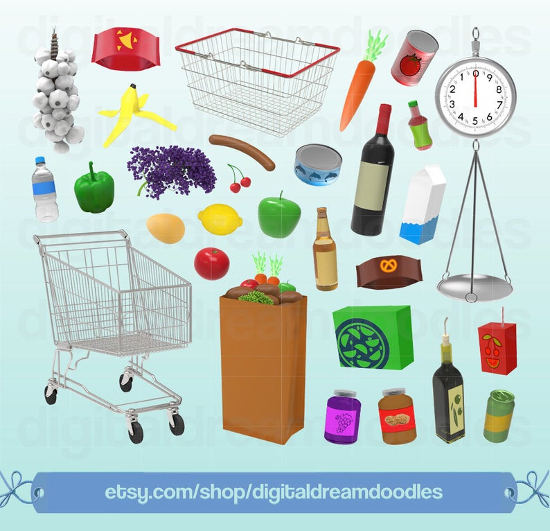 Grocery Clipart, Grocery Clip Art, Supermarket Scale Graphic, Shopping Cart  Image, Shopping Basket PNG, Brown Food Bag Art, Digital Download.