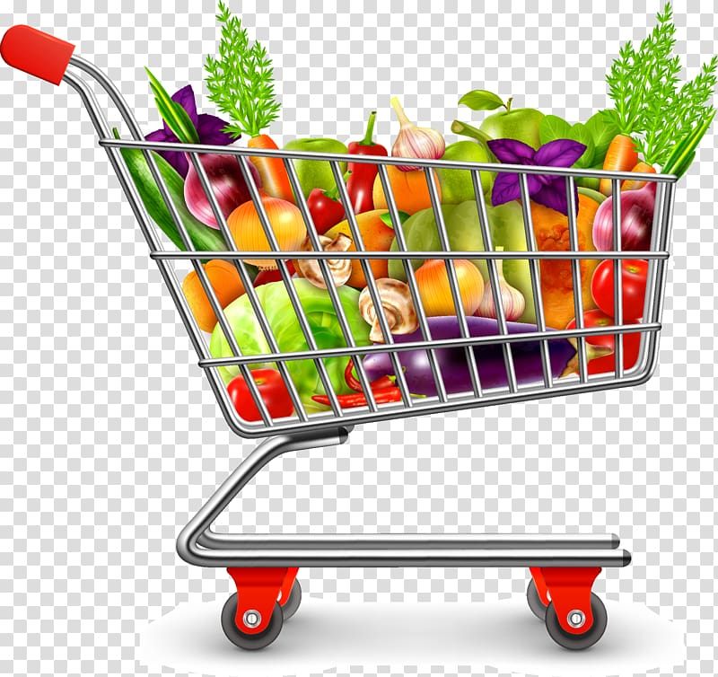 Shopping cart full with fruits and vegetables illustration, Icon.