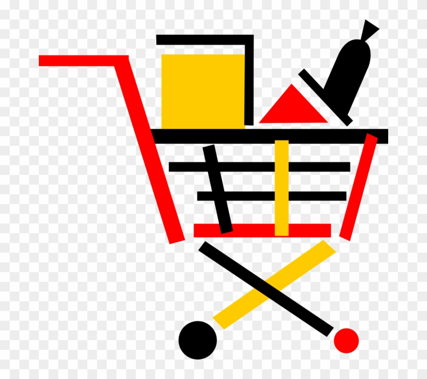 Vector Illustration Of Supermarket Grocery Store Shopping Clipart.