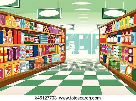 Supermarket aisle Clipart.