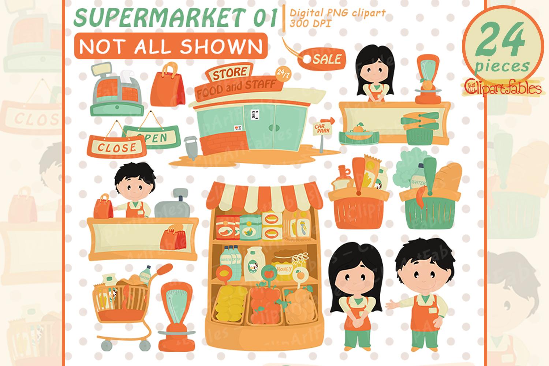 Cute supermarket clipart, Grocery clipart, Shop art.
