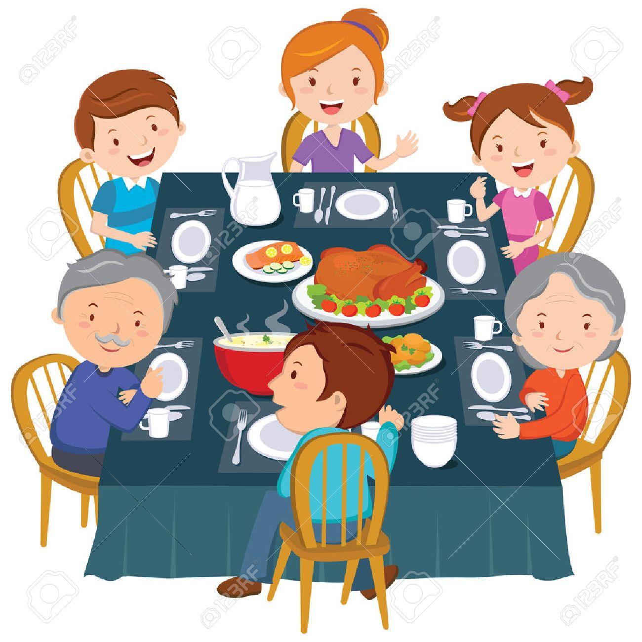 Family Eating Dinner Clipart.