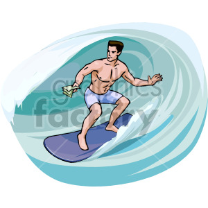 man surfing inside a wave clipart. Royalty.
