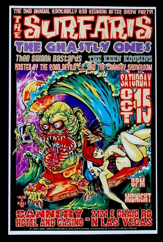 SURFARIS & GHASTLY ONES Concert Poster SIGNED by JOHNNY ACE.
