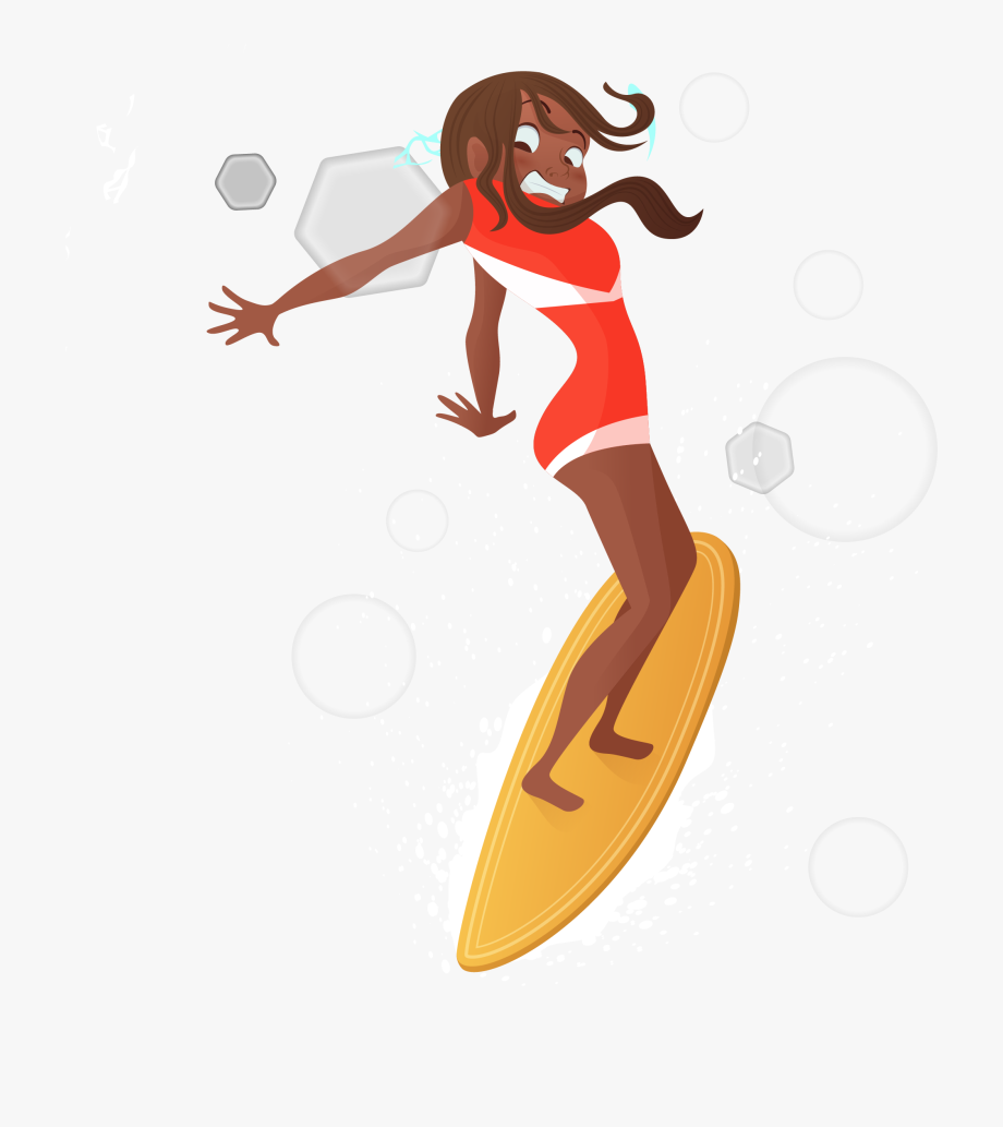 Surfer Girl Surfing Cartoon.
