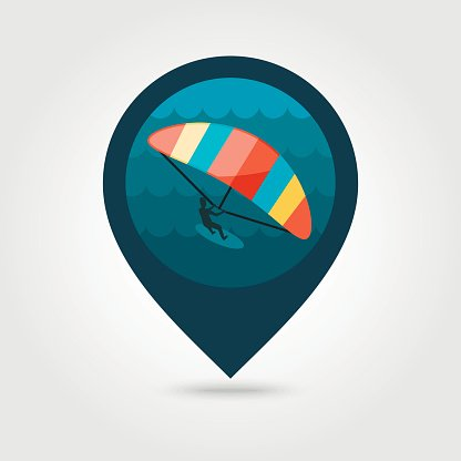 Kite boarding. Kite surfing pin map icon. Vacation Clipart.