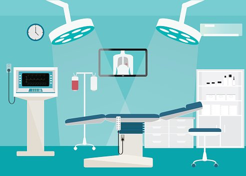 Medical hospital surgery operation room. Clipart Image.