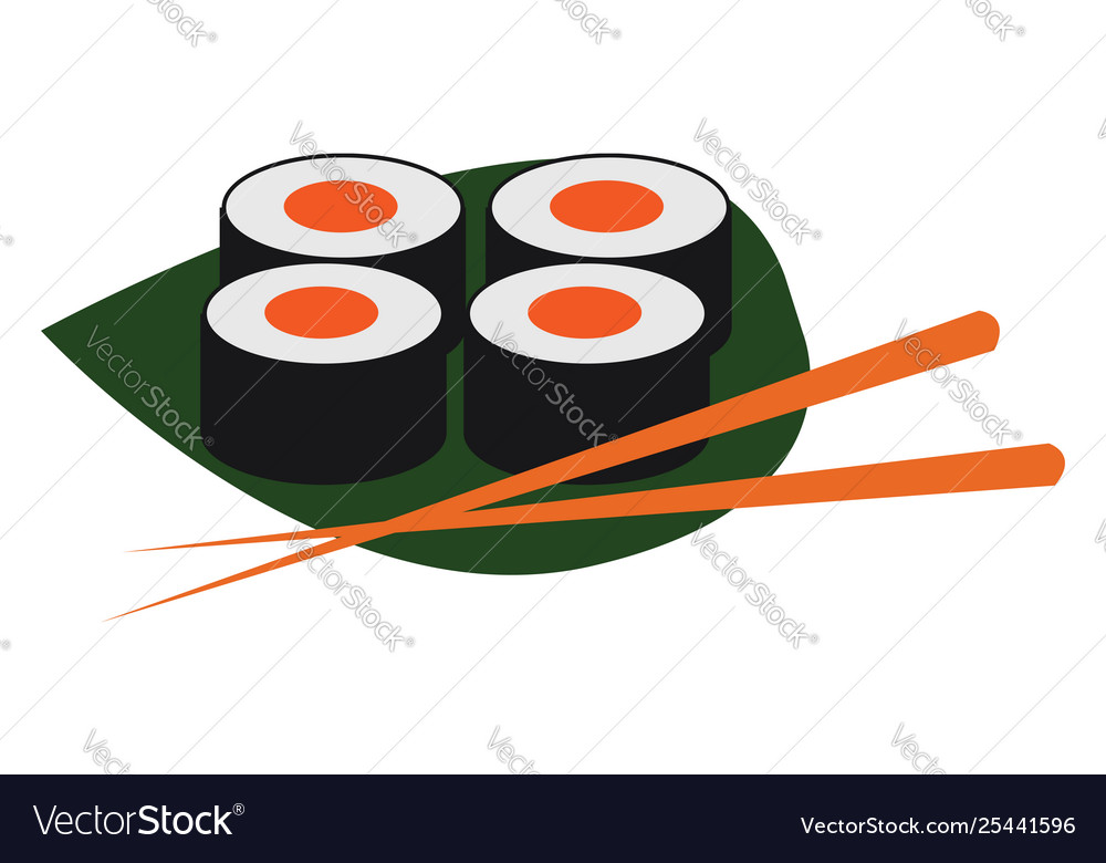 Clipart sushi and chopsticks over a green leaf.