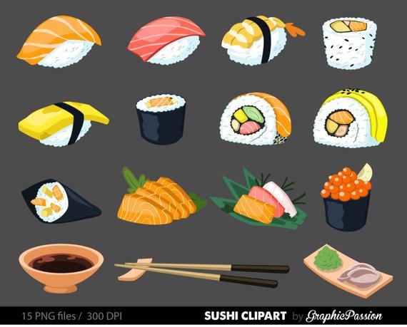 Sushi Digital Art Set Clipart Commercial Use Clip Art Instant.