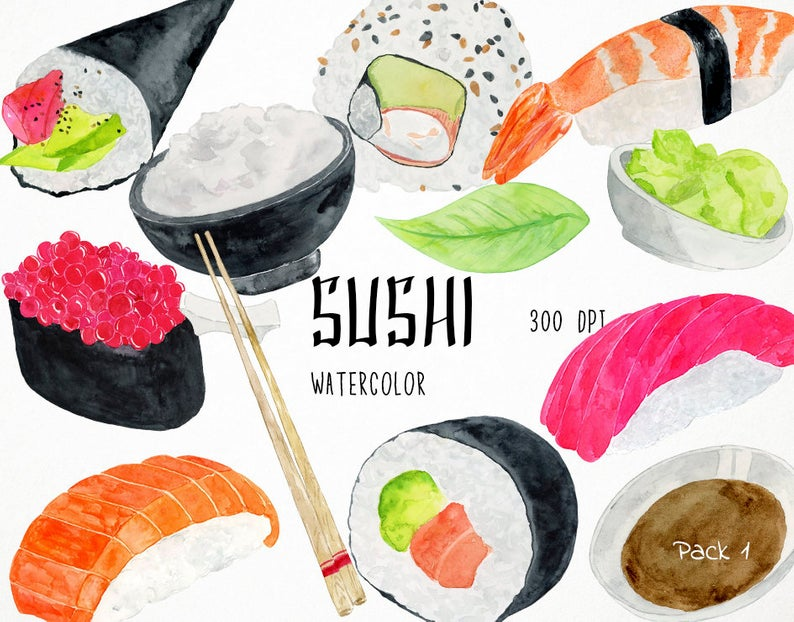 Watercolor Sushi Clipart, Asian Clipart, Fish Clipart, Japanese Clipart,  Sushi Clip Art, Chinese Food Clipart, Japanese Food Clipart.