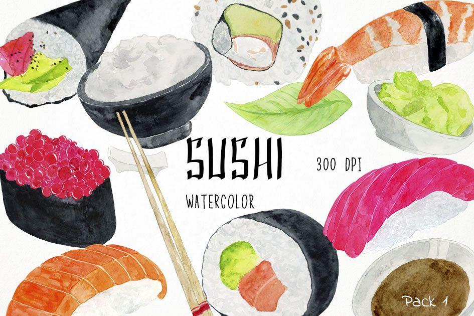 Watercolor Sushi Clipart, Sushi Clip Art, Sushi Illustration.