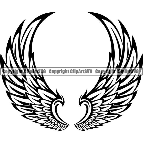 Design Element Angel Wings ClipArt SVG.
