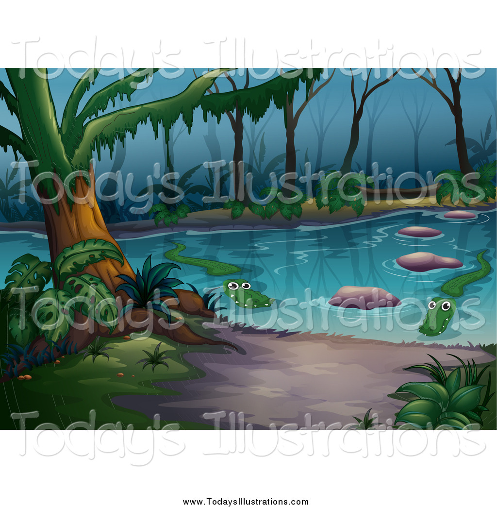 Clipart of a Swamp with Alligators by Graphics RF.