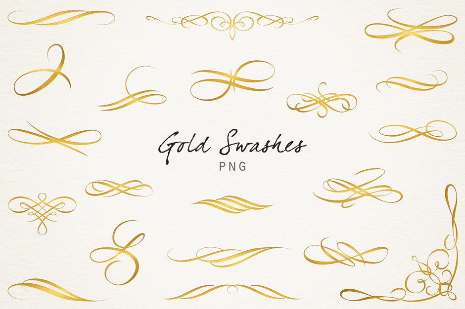 Letterpress Swashes & Clipart: Elegant Swashes To Add Into Your Work.
