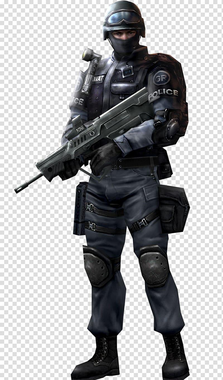 Swat police holding rifle, Swatman Orthodontics Police.