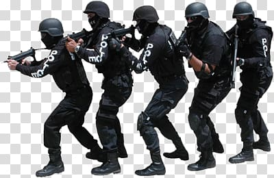 Five male SWAT officers, Swat Team transparent background.