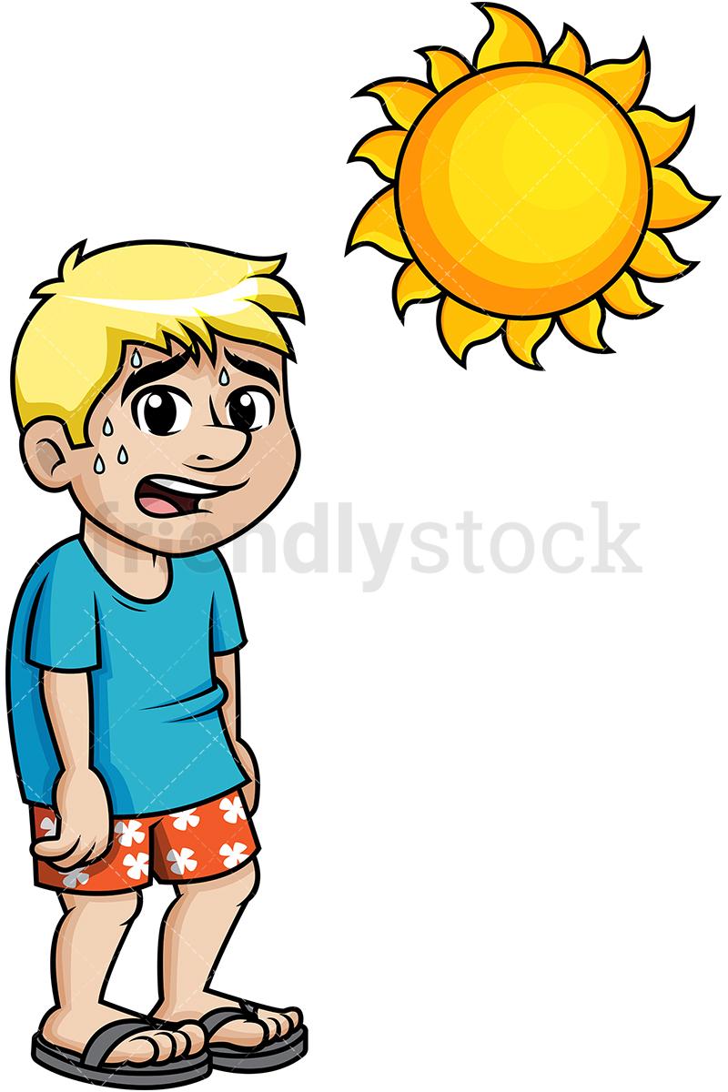 Man Sweating Under The Summer Sun.