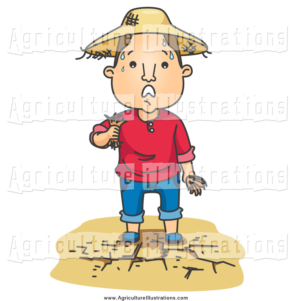 Agriculture Clipart of a Sweaty Tattered Farmer on Dry Land.