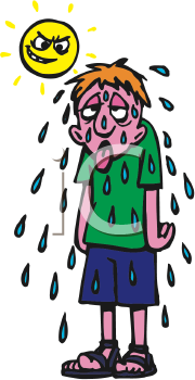 Royalty Free Clipart Image of a Boy Sweating.