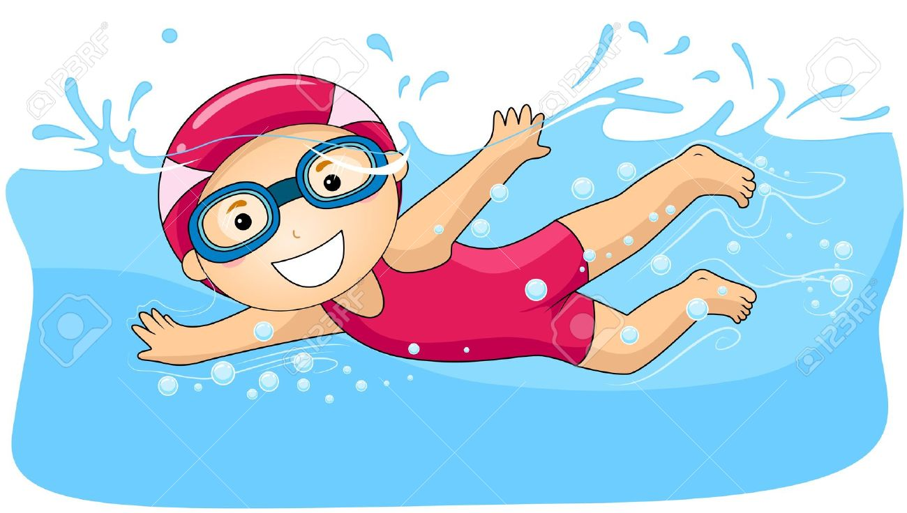 7044 Swimming free clipart.