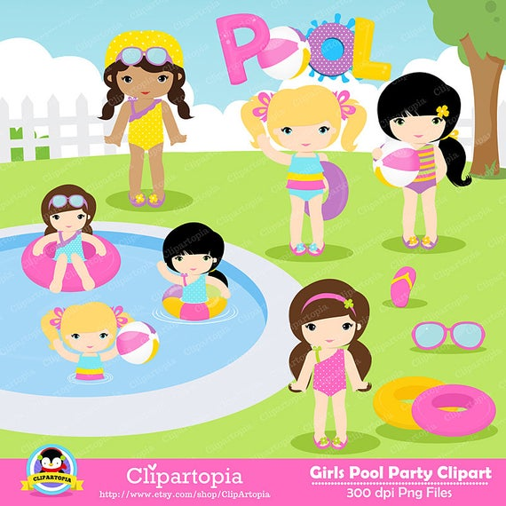 GIRLS POOL PARTY Clipart, Pool party clipart , Swim Girls Digital.
