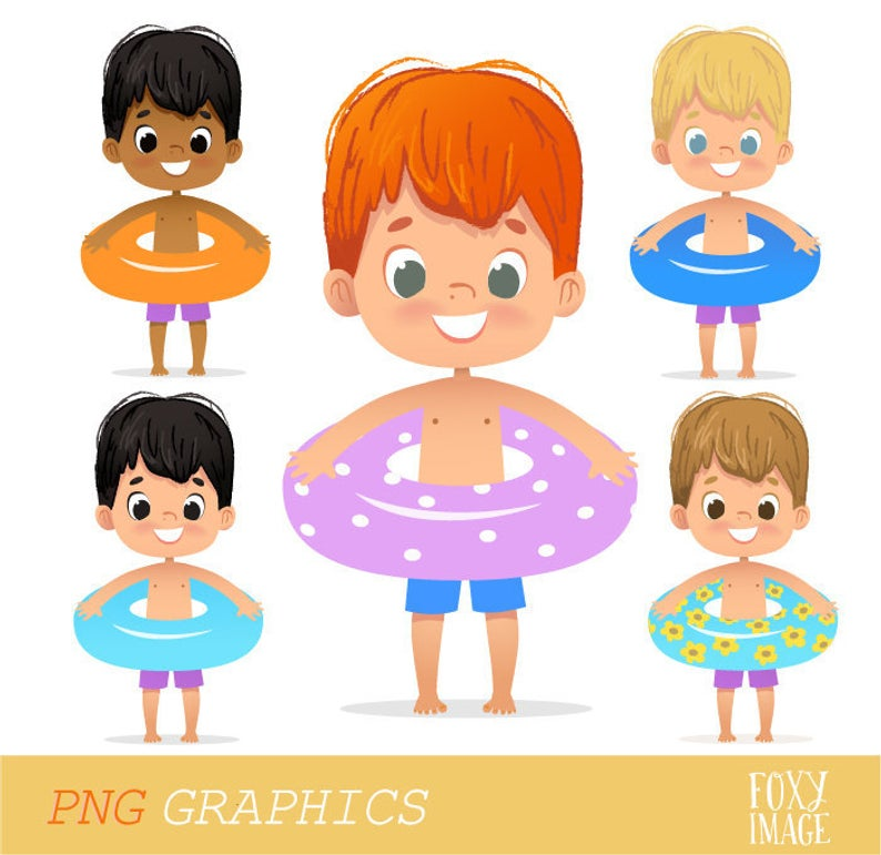 Pool Party Kids, Happy Birthday, Boys Pool Party Clipart, Swim Kids,  Digital Download Set, Summer Kids Clip Art, Inflatable circle.