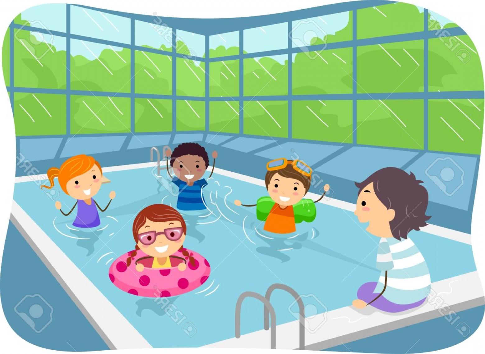 Photostock Vector Illustration Of Kids Swimming In An Indoor.