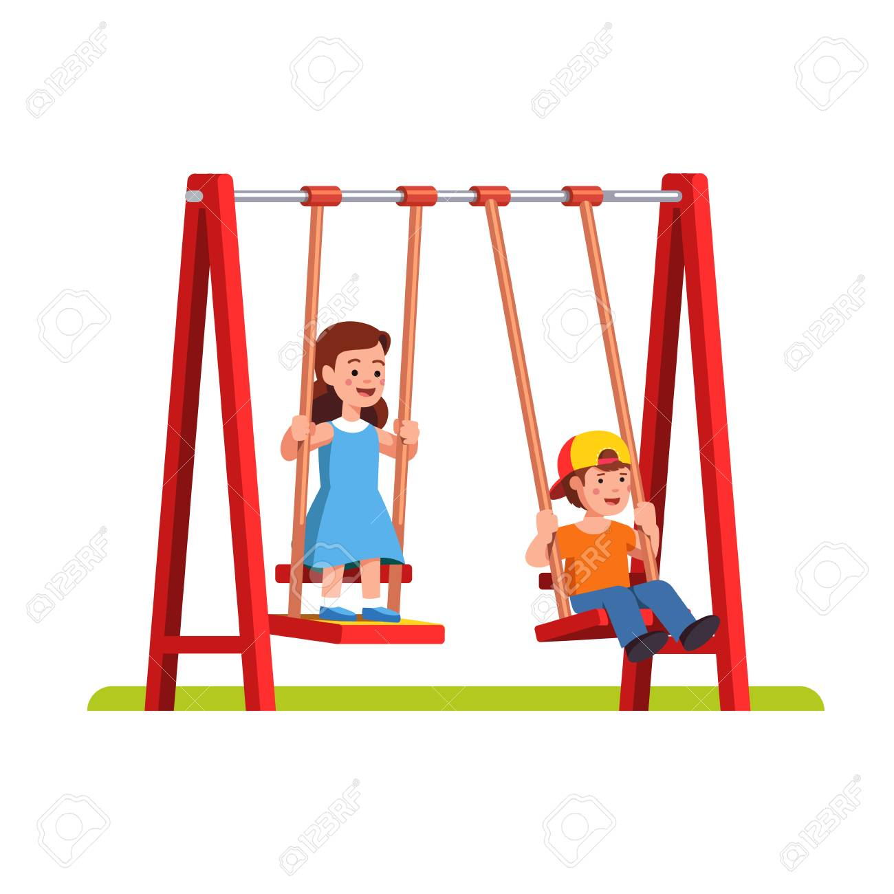 Boy and girl swinging on swing on playground.