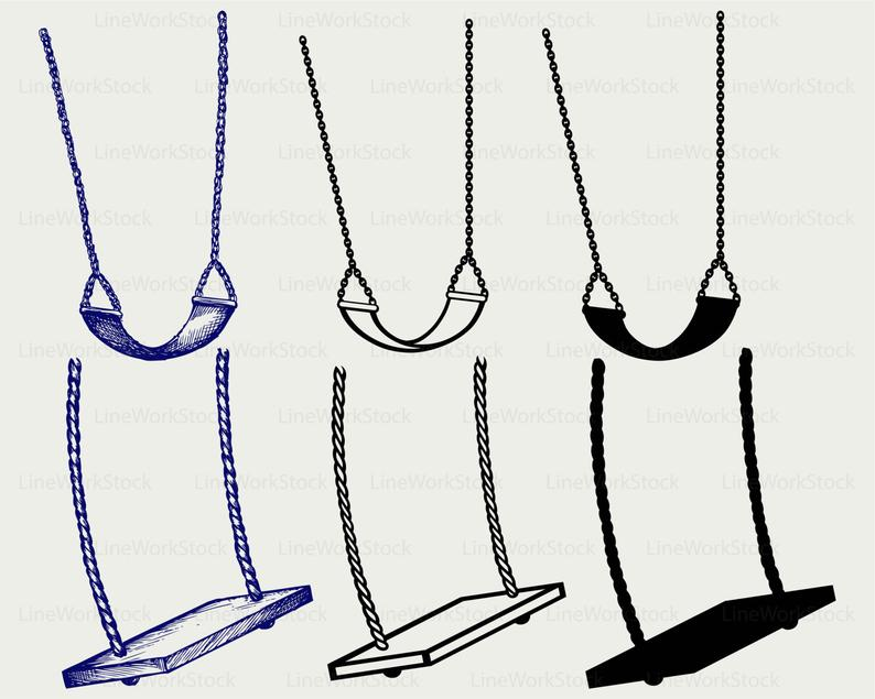 Swing svg/swing clipart/swing svg/swing silhouette/swing cricut cut  files/swing clip art/swing digital download designs/svg.