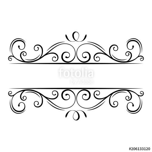 Calligraphic flourish frame. Decorative ornate border. Swirls, Curls.