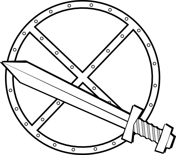 Jonadab Round Sword And Shield clip art Free vector in Open office.