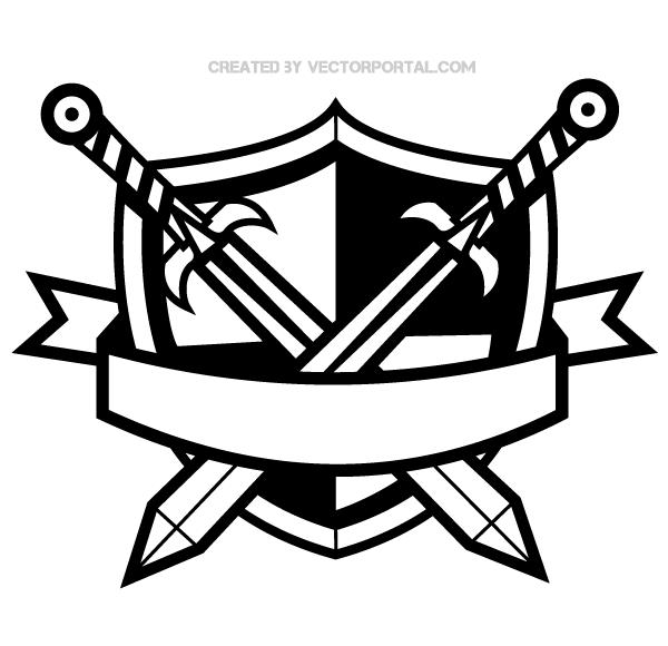 Heraldic Shield with Cross Swords and Banner Clip Art.