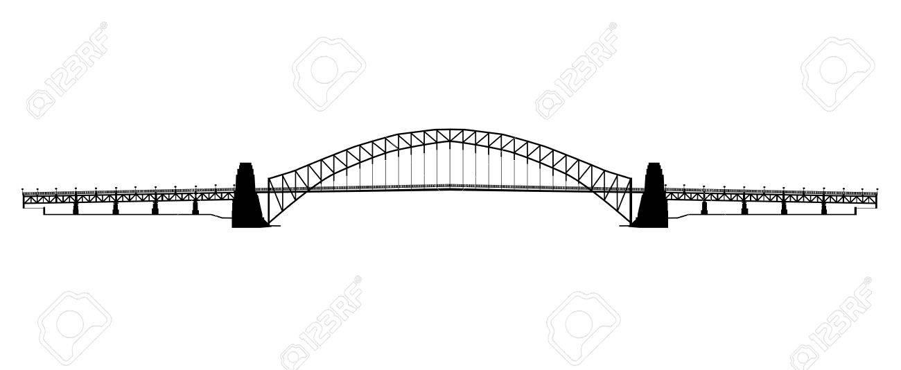 Silhouette of the Sydney harbour bridge in Australia.