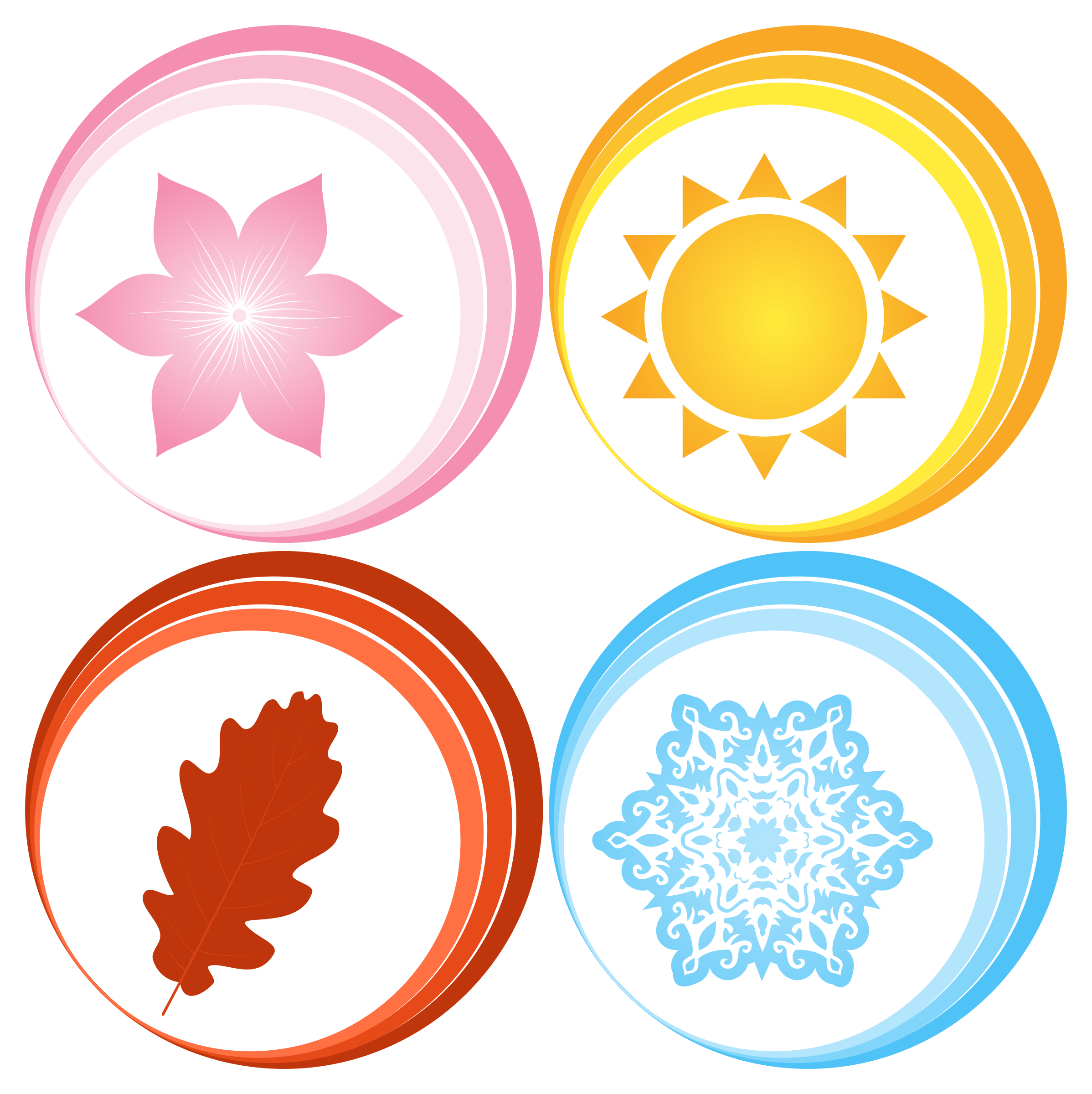 Symbols for Four Seasons Vector Clipart image.