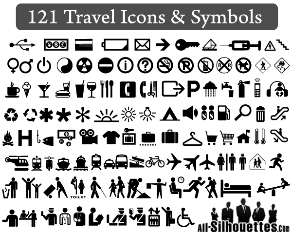 Travel Symbols Clipart And Vector Free Icons.