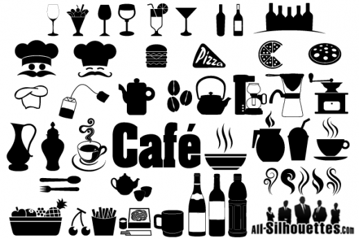 Cafe Restaurant Icons Symbols Free Vector.