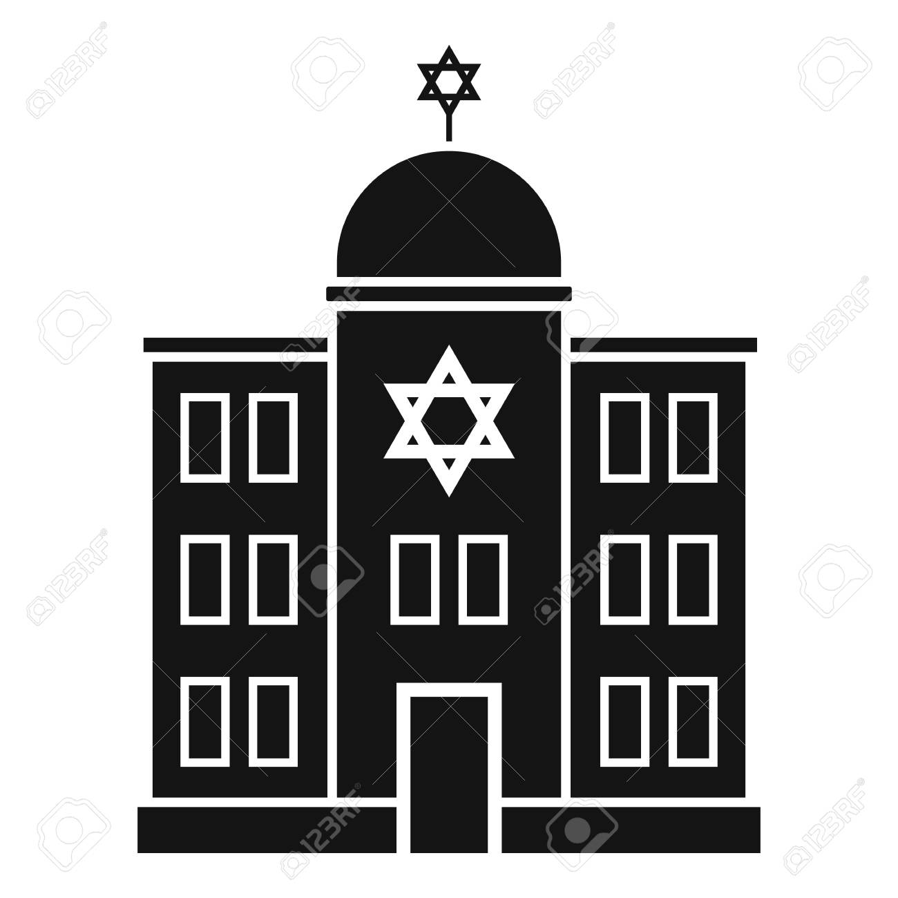 Jewish synagogue icon, simple style.