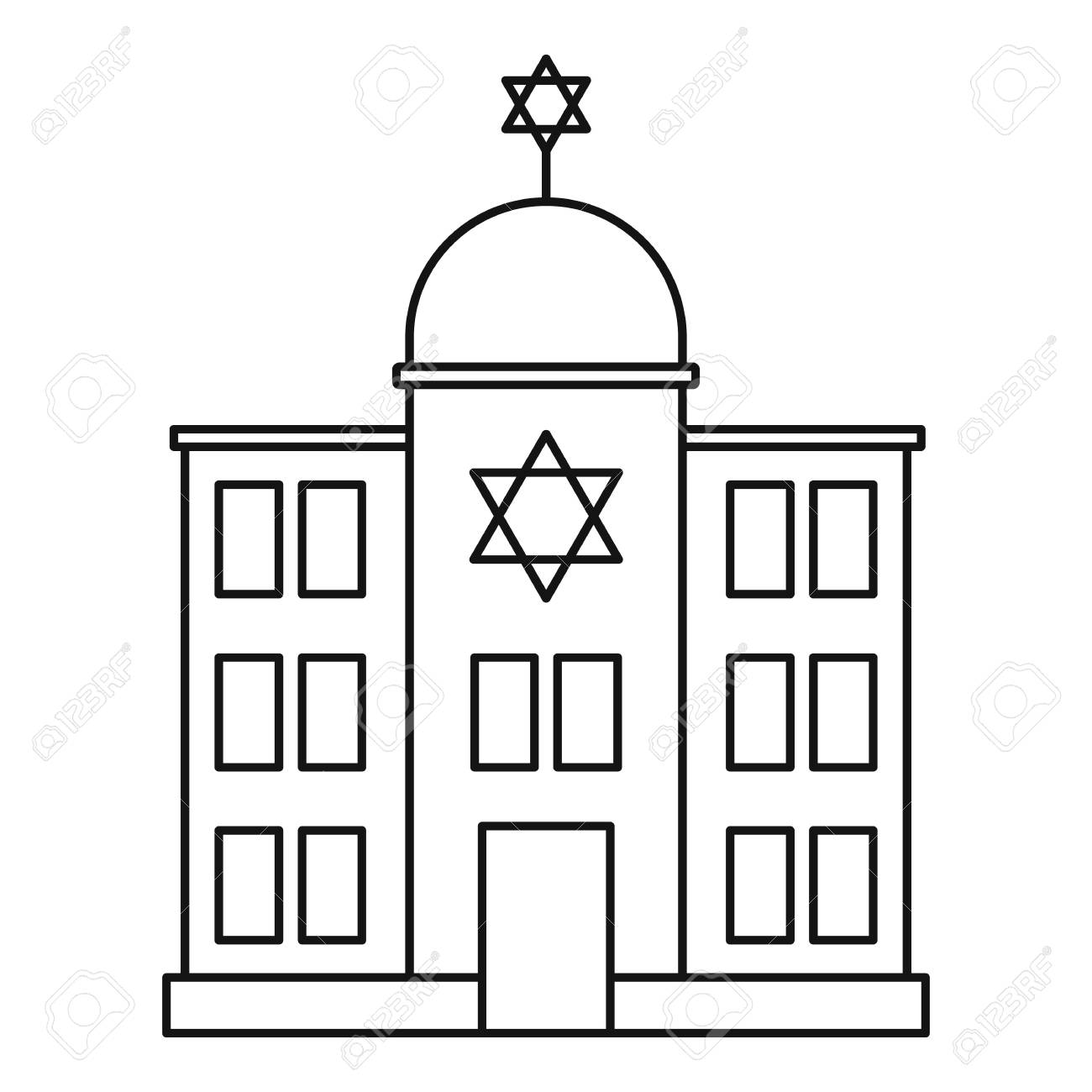 Jewish synagogue icon, outline style.