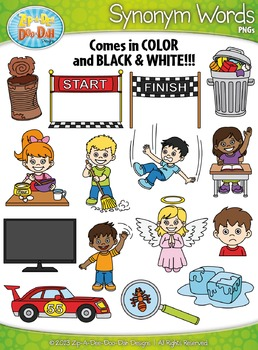 Synonyms Word Clipart Set 2 {Zip.
