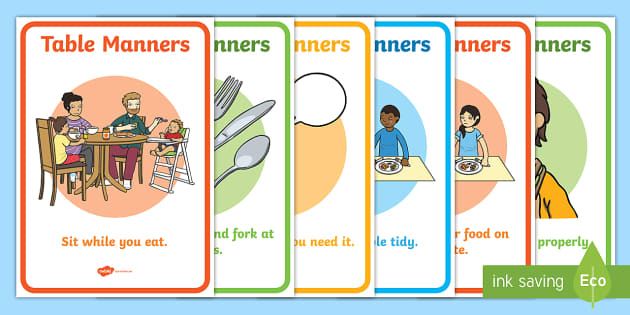 Editable Table Manners Rules Display Posters SEN.